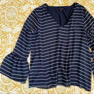 Banana Republic Striped Bell Sleeve Blouse XL Blue